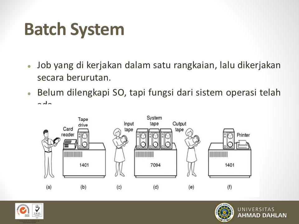 Batch System Job yang di kerjakan dalam satu rangkaian, lalu dikerjakan secara berurutan.