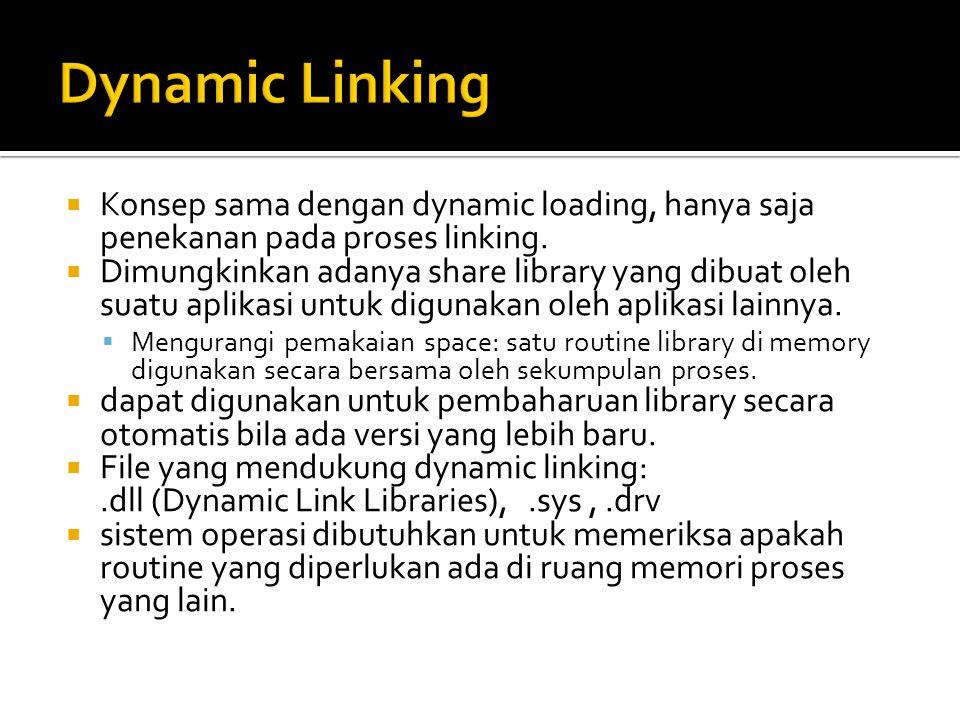 Dynamic Linking Konsep sama dengan dynamic loading, hanya saja penekanan pada proses linking.