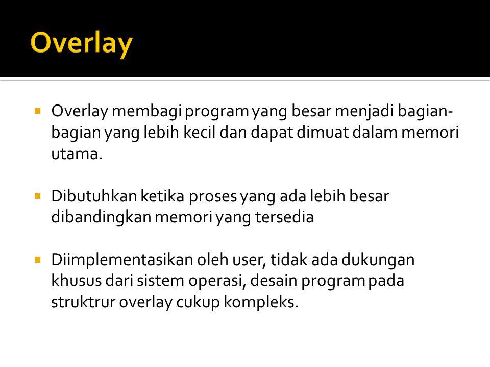 Overlay Overlay membagi program yang besar menjadi bagian-bagian yang lebih kecil dan dapat dimuat dalam memori utama.