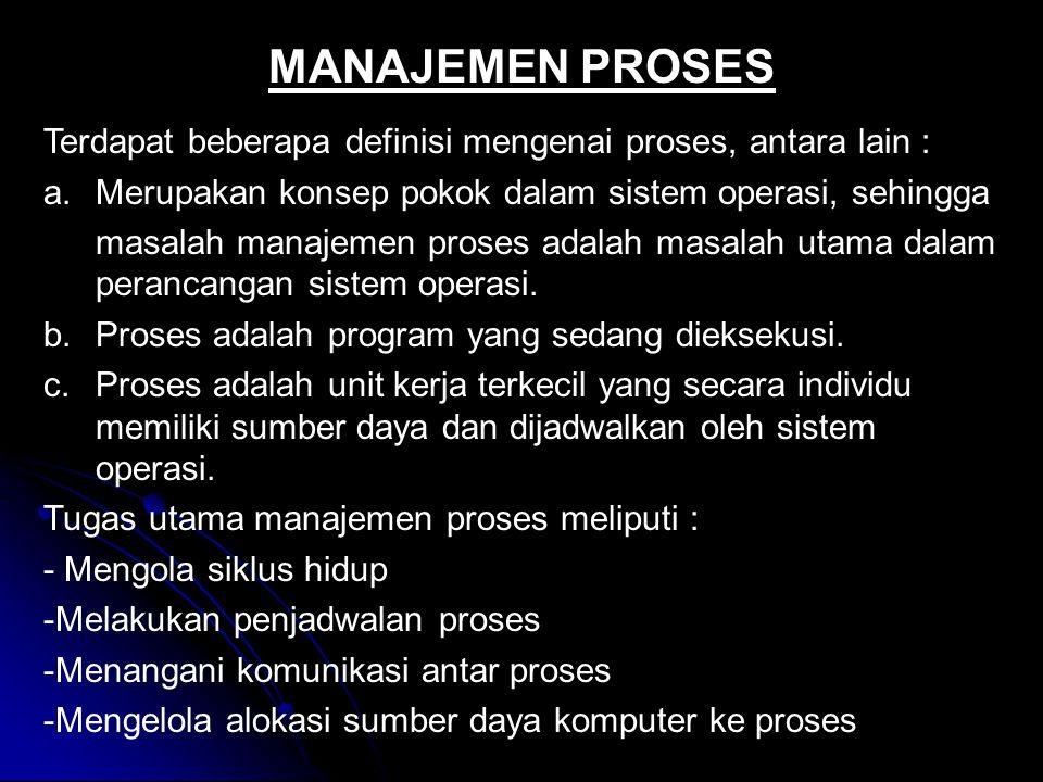 MANAJEMEN PROSES Terdapat beberapa definisi mengenai proses, antara lain : Merupakan konsep pokok dalam sistem operasi, sehingga.