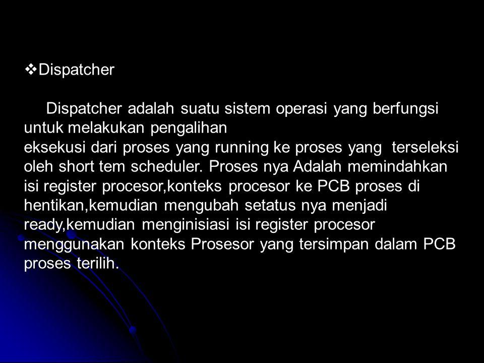 Dispatcher Dispatcher adalah suatu sistem operasi yang berfungsi untuk melakukan pengalihan.