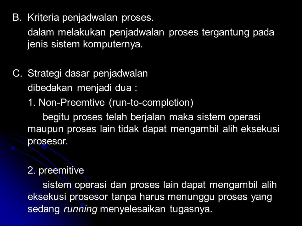 Kriteria penjadwalan proses.