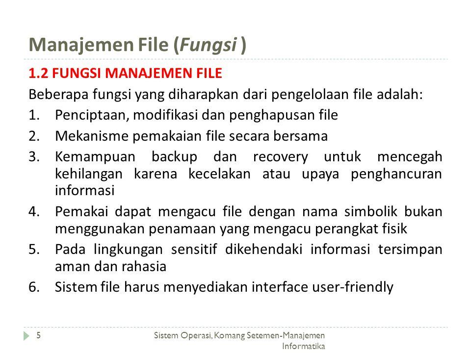Manajemen File (Fungsi )