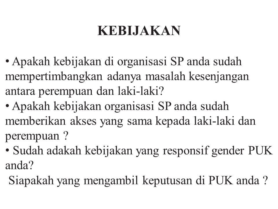 KEBIJAKAN • Apakah kebijakan di organisasi SP anda sudah mempertimbangkan adanya masalah kesenjangan antara perempuan dan laki-laki