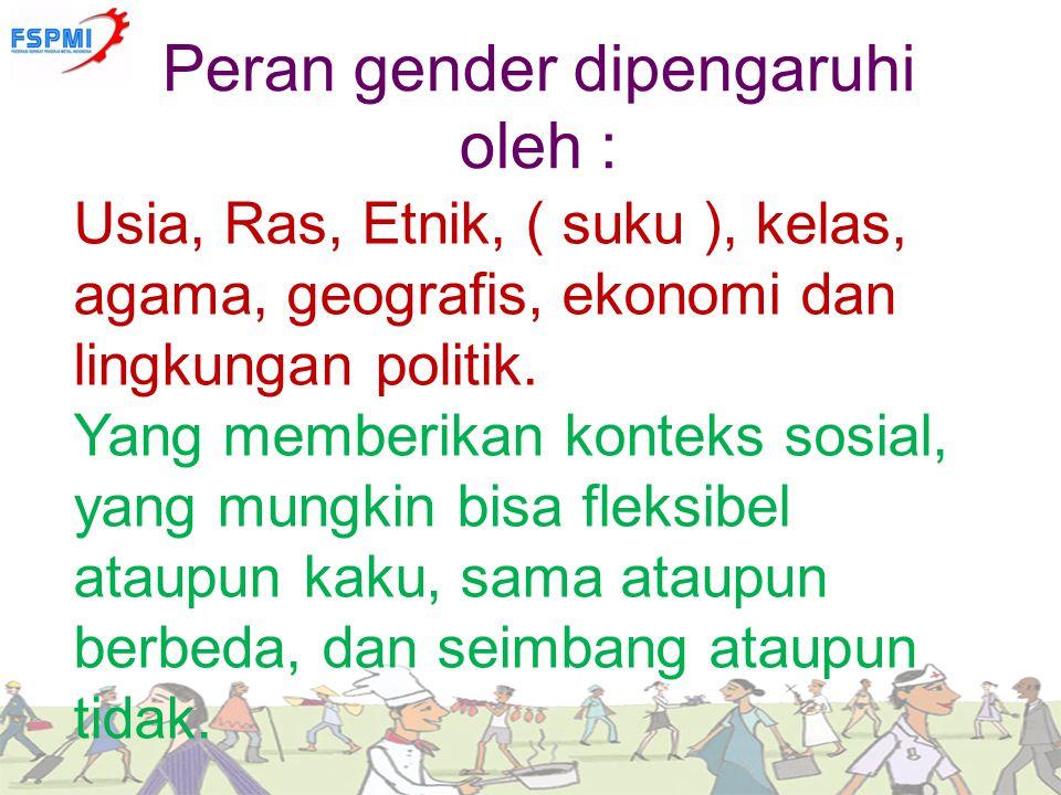 Peran gender dipengaruhi oleh :