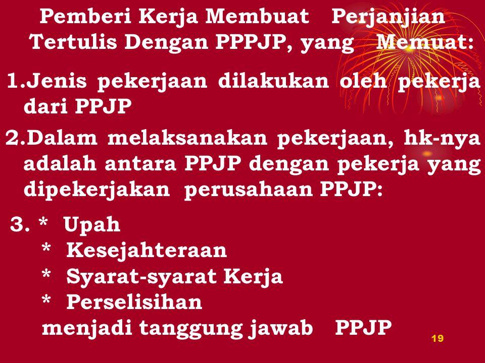Pemberi Kerja Membuat Perjanjian Tertulis Dengan PPPJP, yang Memuat: