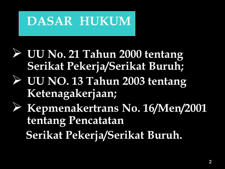 DASAR HUKUM UU No. 21 Tahun 2000 tentang Serikat Pekerja/Serikat Buruh; UU NO. 13 Tahun 2003 tentang Ketenagakerjaan;