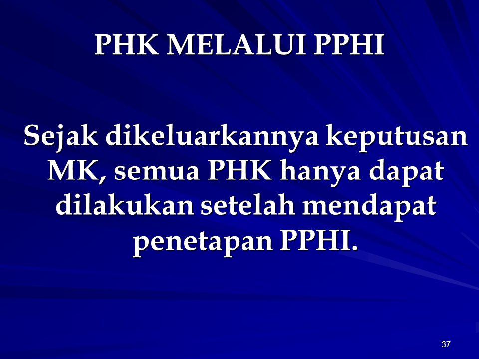 PHK MELALUI PPHI Sejak dikeluarkannya keputusan MK, semua PHK hanya dapat dilakukan setelah mendapat penetapan PPHI.