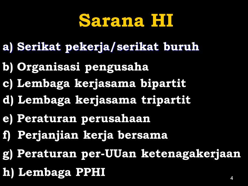 Sarana HI a) Serikat pekerja/serikat buruh b) Organisasi pengusaha