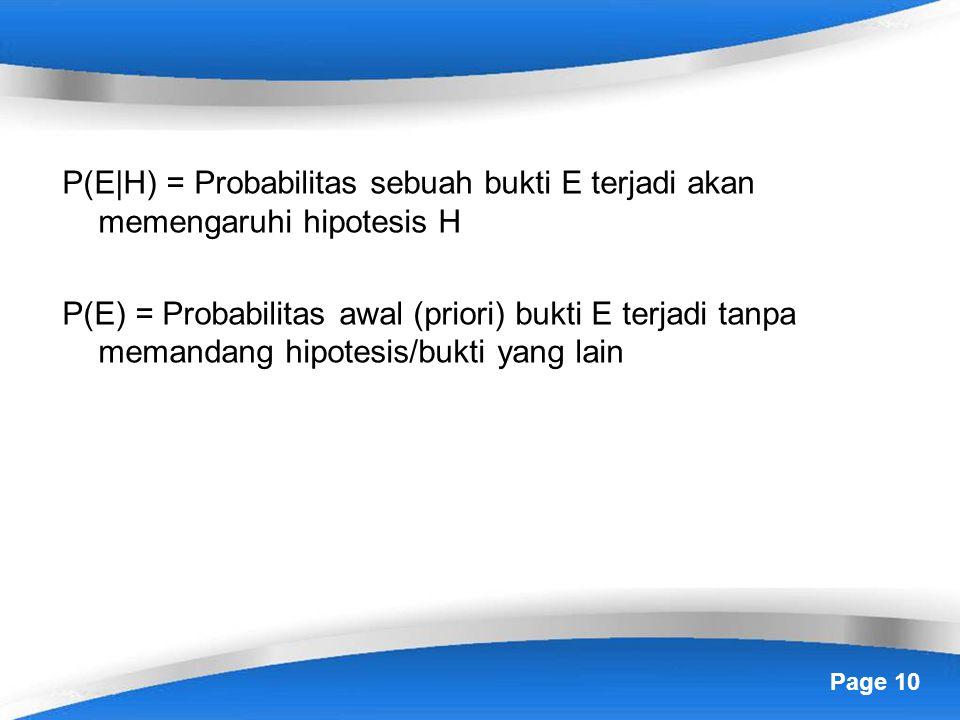 P(E|H) = Probabilitas sebuah bukti E terjadi akan memengaruhi hipotesis H P(E) = Probabilitas awal (priori) bukti E terjadi tanpa memandang hipotesis/bukti yang lain