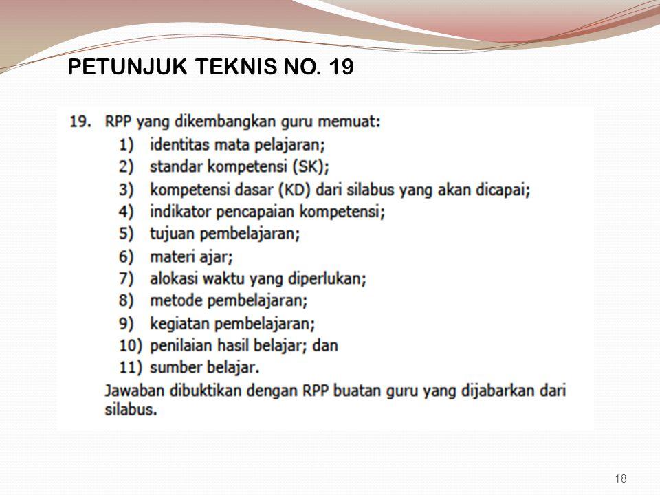 PETUNJUK TEKNIS NO. 19