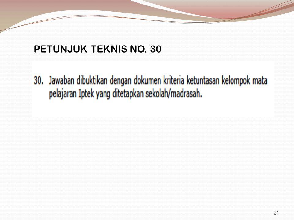PETUNJUK TEKNIS NO. 30