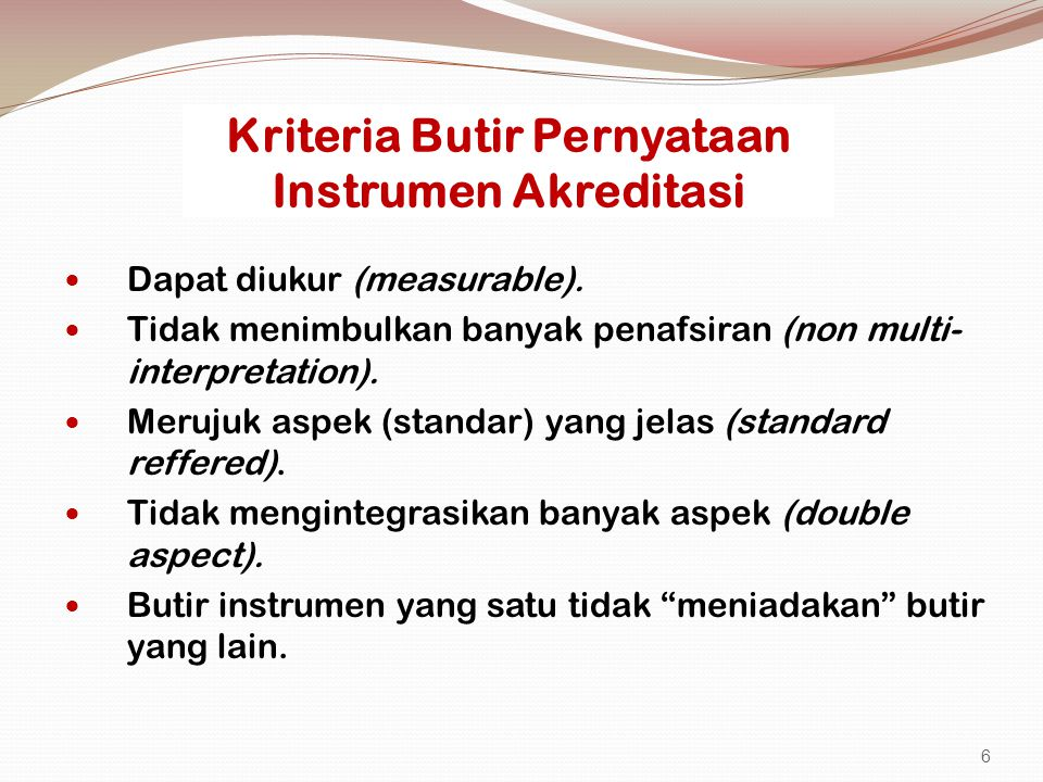 Kriteria Butir Pernyataan Instrumen Akreditasi