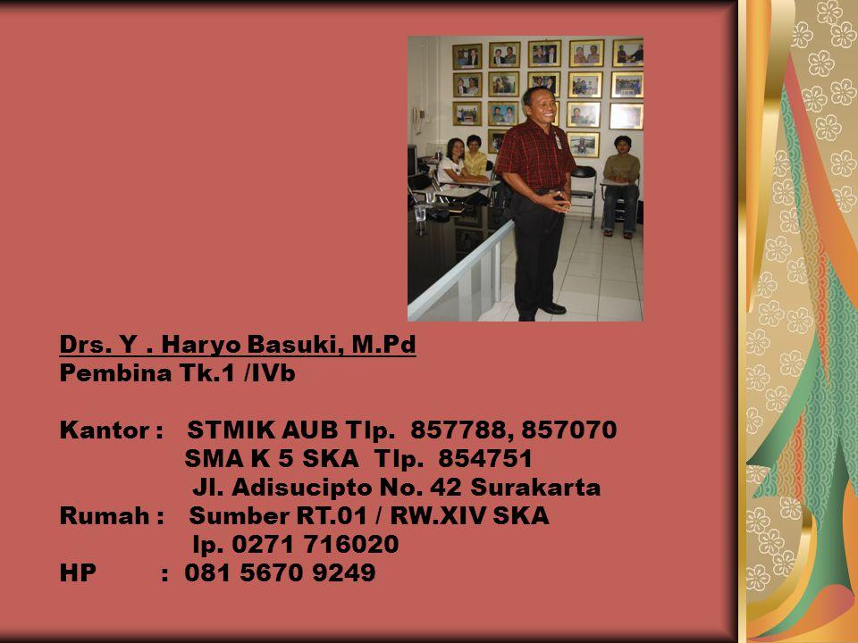 Drs. Y . Haryo Basuki, M.Pd Pembina Tk.1 /IVb. Kantor : STMIK AUB Tlp. 857788, 857070. SMA K 5 SKA Tlp. 854751.