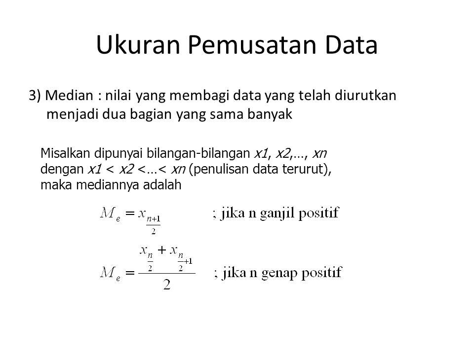 Ukuran Pemusatan Data 3) Median : nilai yang membagi data yang telah diurutkan menjadi dua bagian yang sama banyak.