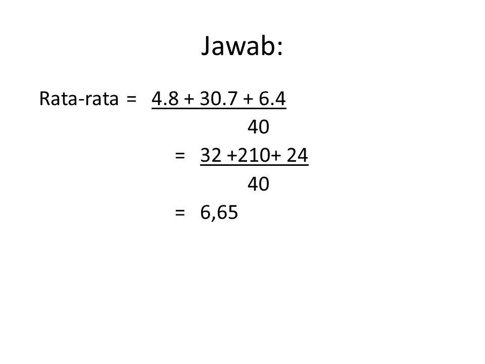 Jawab: Rata-rata = 4.8 + 30.7 + 6.4 40 = 32 +210+ 24 = 6,65