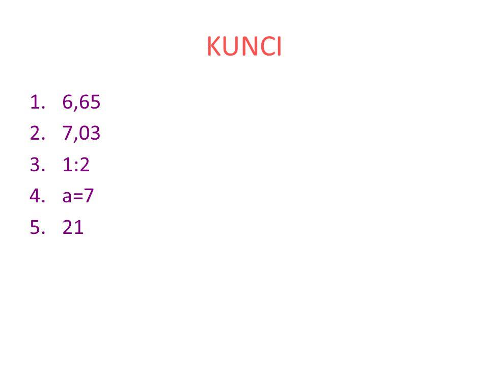 KUNCI 6,65 7,03 1:2 a=7 21