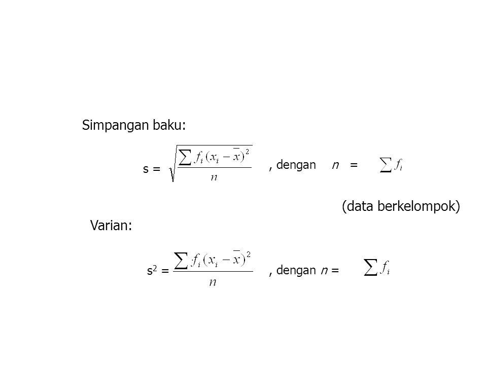 Simpangan baku: (data berkelompok) Varian: , dengan n = s = s2 =