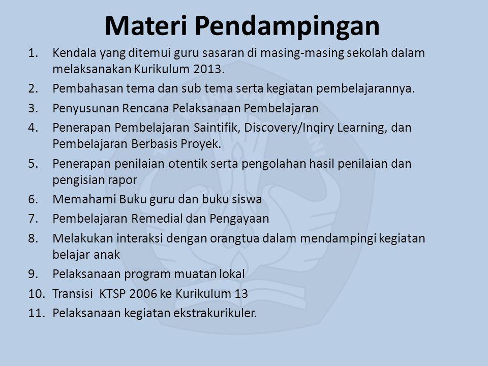 Materi Pendampingan Kendala yang ditemui guru sasaran di masing-masing sekolah dalam melaksanakan Kurikulum 2013.