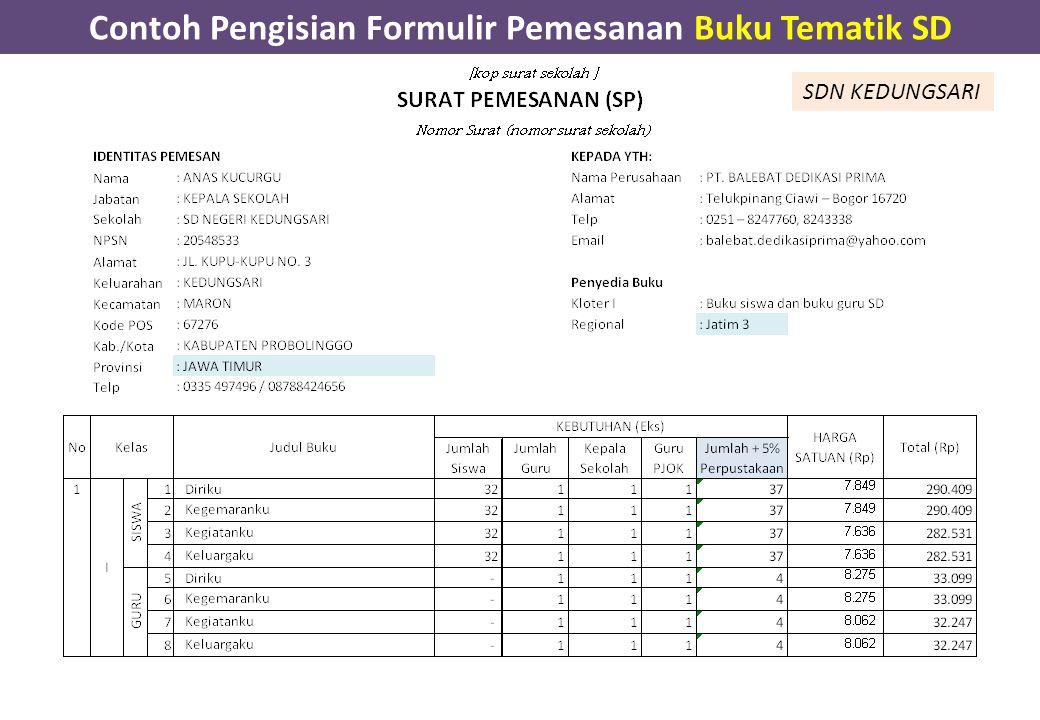 Contoh Pengisian Formulir Pemesanan Buku Tematik SD