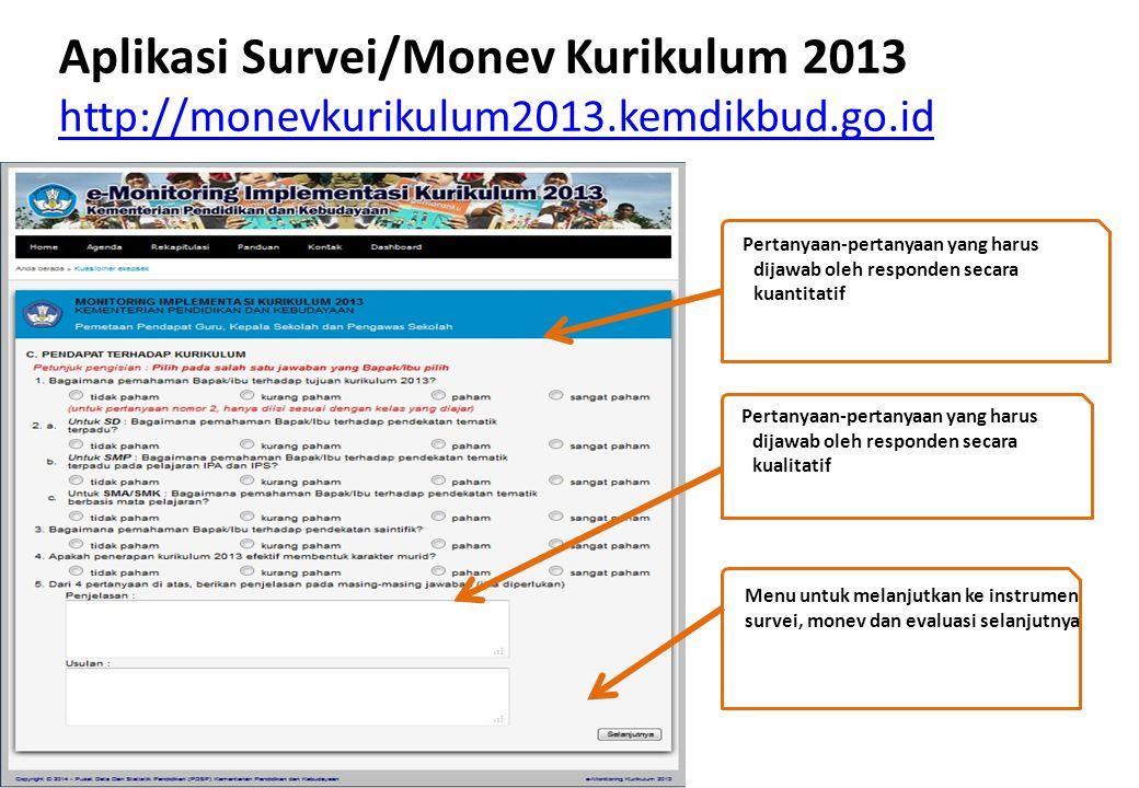 Aplikasi Survei/Monev Kurikulum 2013 http://monevkurikulum2013
