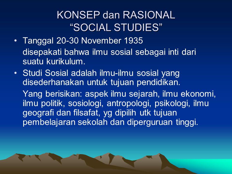 KONSEP dan RASIONAL SOCIAL STUDIES