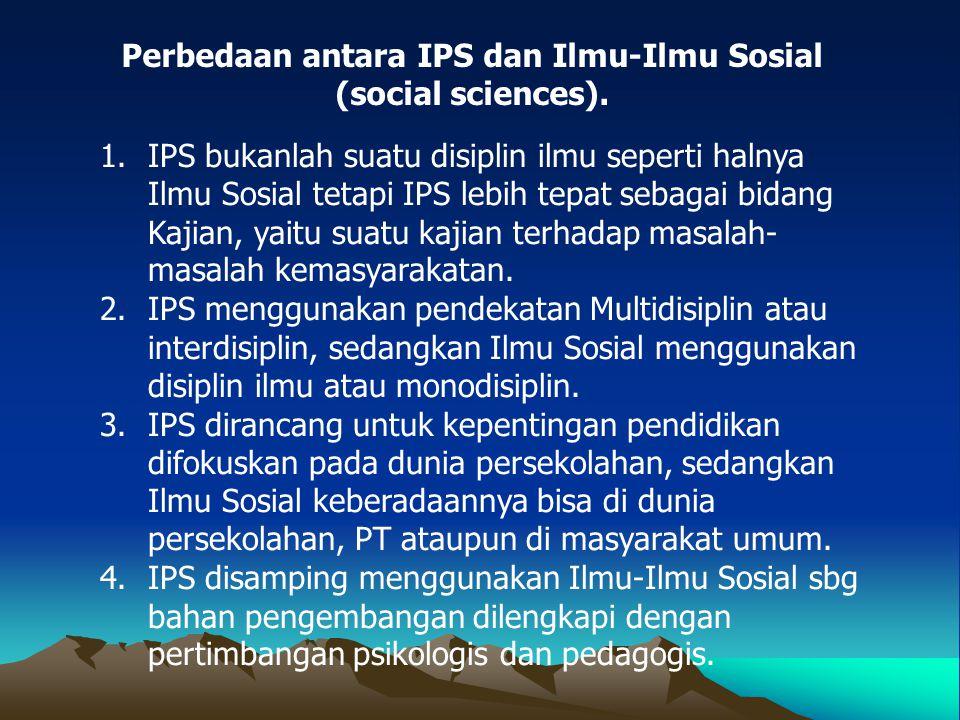 Perbedaan antara IPS dan Ilmu-Ilmu Sosial