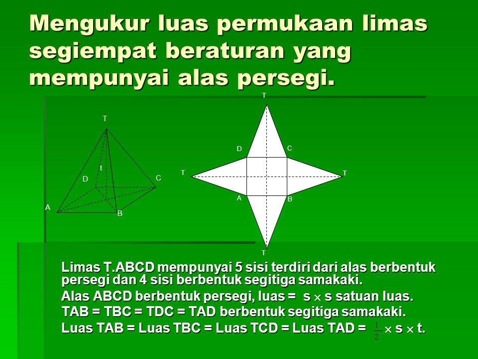 Mengukur luas permukaan limas segiempat beraturan yang mempunyai alas persegi.