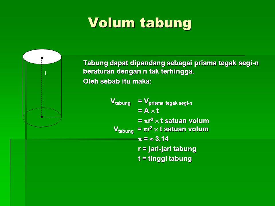 Volum tabung t. Tabung dapat dipandang sebagai prisma tegak segi-n beraturan dengan n tak terhingga.