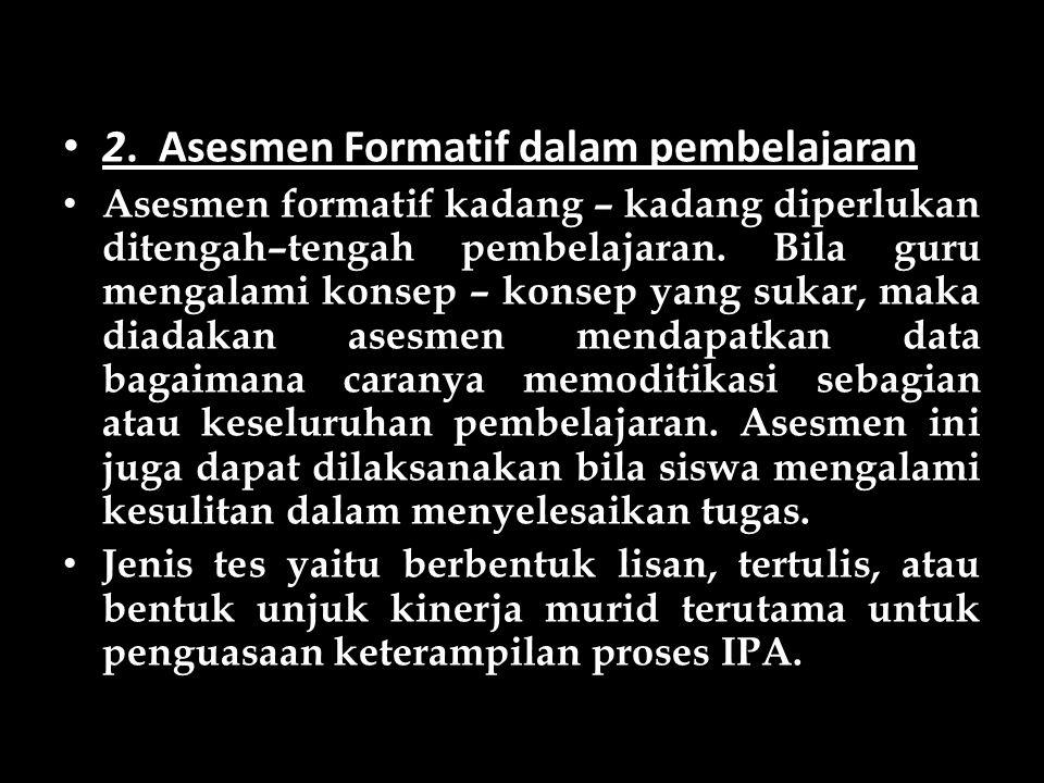 2. Asesmen Formatif dalam pembelajaran