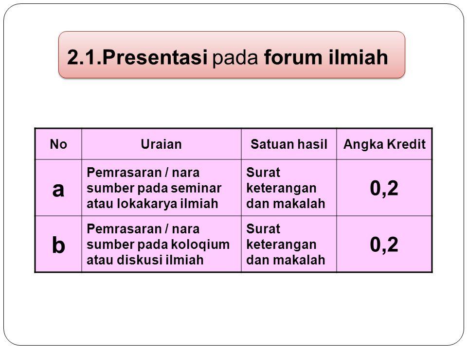 2.1.Presentasi pada forum ilmiah