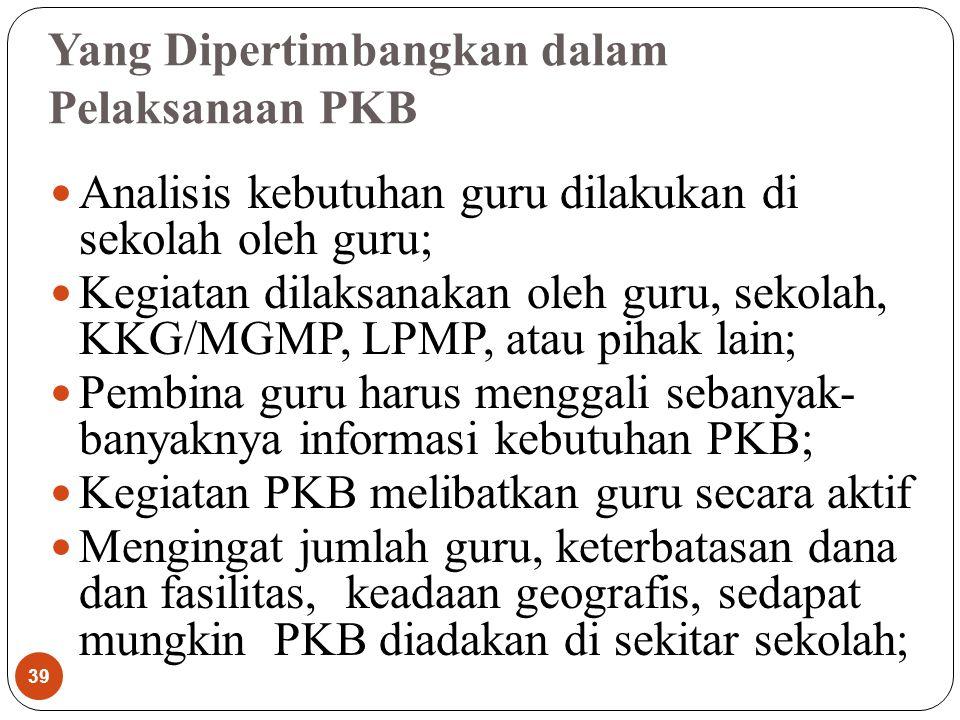 Yang Dipertimbangkan dalam Pelaksanaan PKB