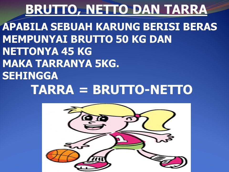 BRUTTO, NETTO DAN TARRA TARRA = BRUTTO-NETTO