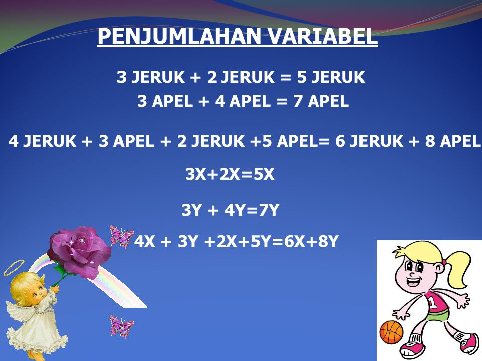 PENJUMLAHAN VARIABEL 3X+2X=5X 3Y + 4Y=7Y 4X + 3Y +2X+5Y=6X+8Y