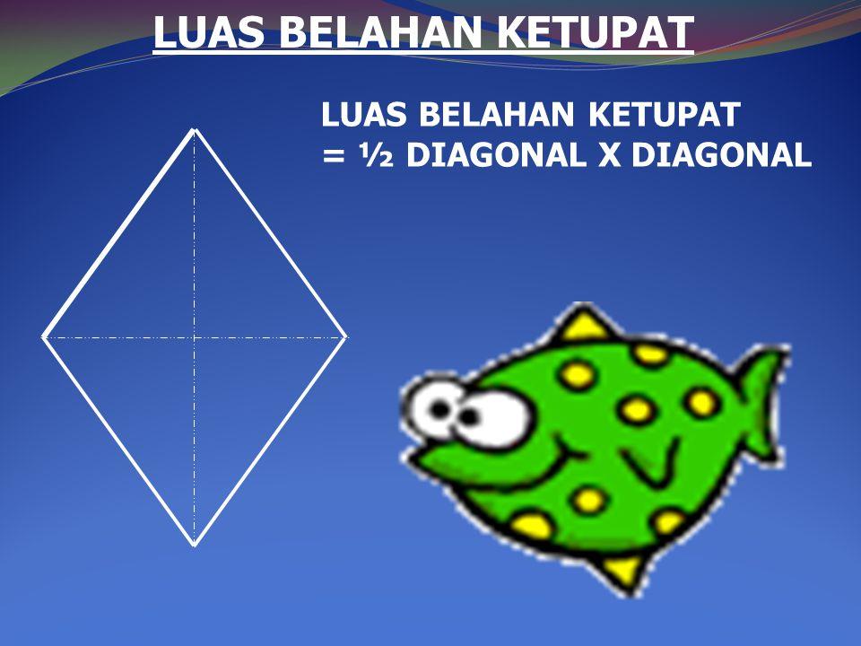 LUAS BELAHAN KETUPAT LUAS BELAHAN KETUPAT = ½ DIAGONAL X DIAGONAL