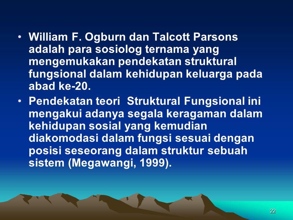 William F. Ogburn dan Talcott Parsons adalah para sosiolog ternama yang mengemukakan pendekatan struktural fungsional dalam kehidupan keluarga pada abad ke-20.
