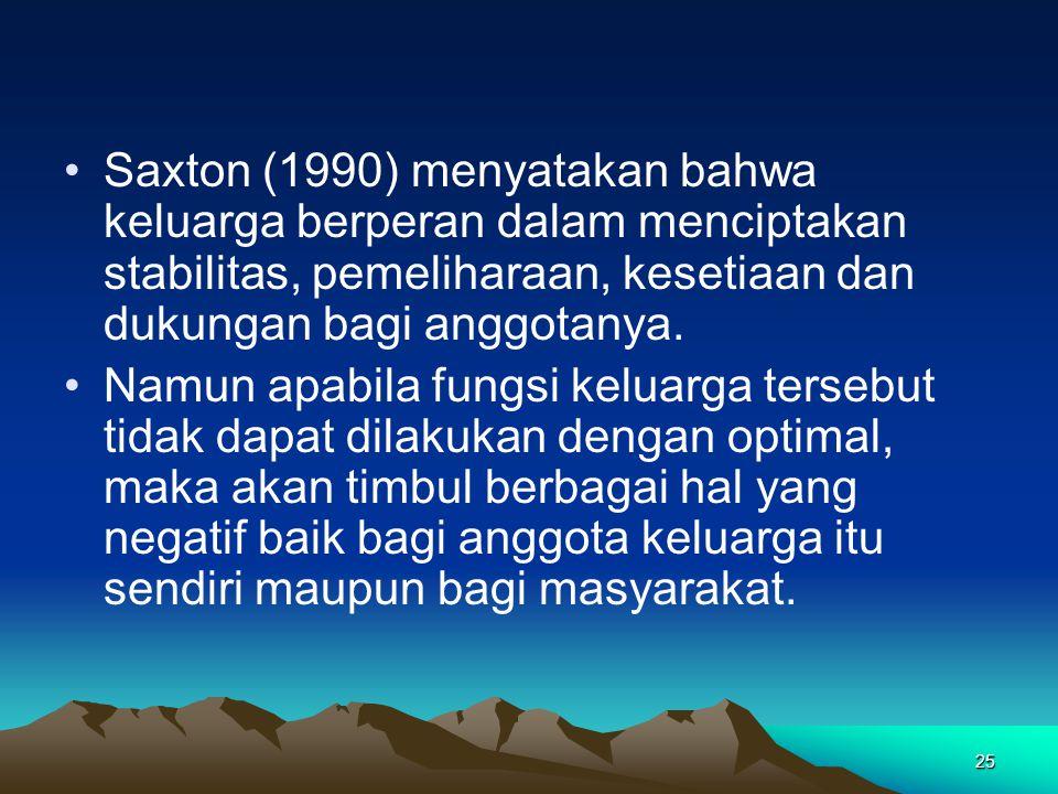 Saxton (1990) menyatakan bahwa keluarga berperan dalam menciptakan stabilitas, pemeliharaan, kesetiaan dan dukungan bagi anggotanya.