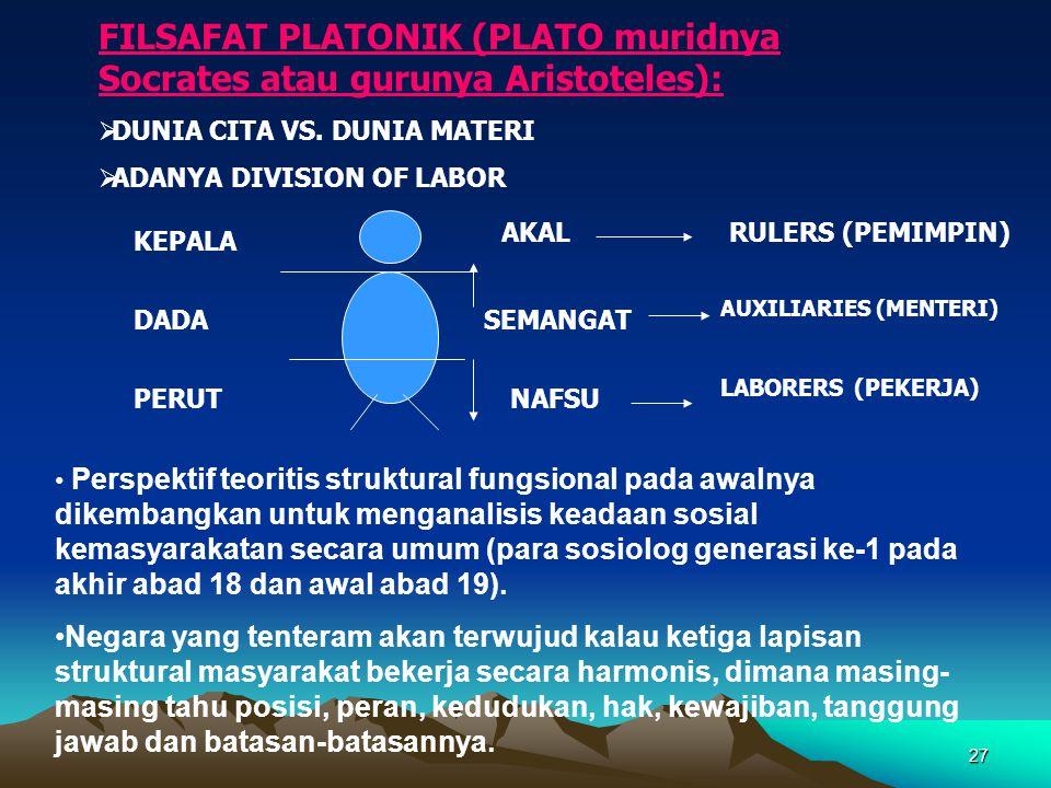 FILSAFAT PLATONIK (PLATO muridnya Socrates atau gurunya Aristoteles):