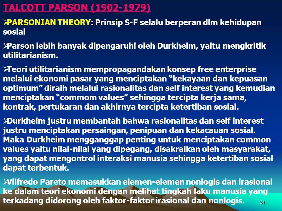 TALCOTT PARSON (1902-1979) PARSONIAN THEORY: Prinsip S-F selalu berperan dlm kehidupan sosial.