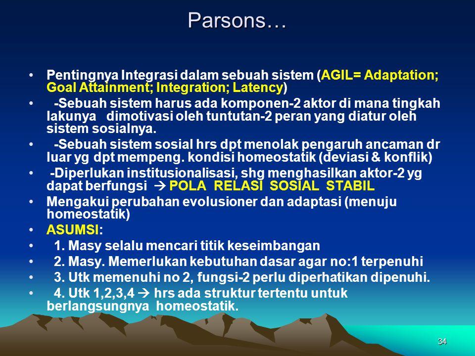 Parsons… Pentingnya Integrasi dalam sebuah sistem (AGIL= Adaptation; Goal Attainment; Integration; Latency)