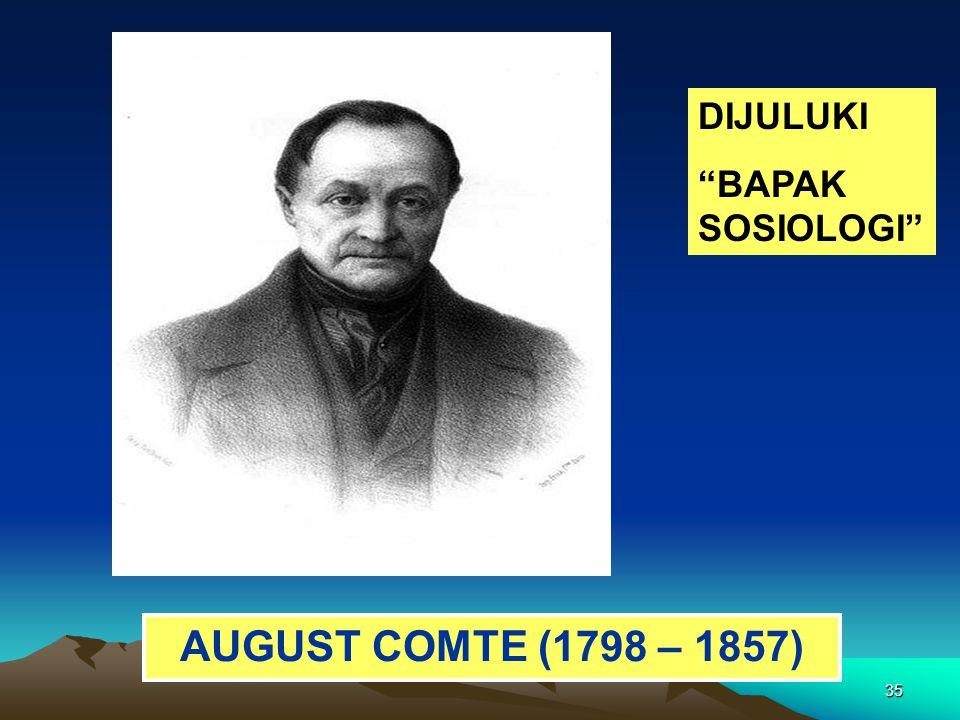 DIJULUKI BAPAK SOSIOLOGI AUGUST COMTE (1798 – 1857)