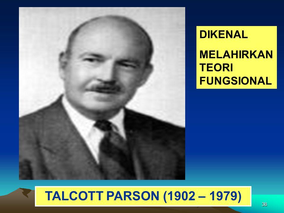DIKENAL MELAHIRKAN TEORI FUNGSIONAL TALCOTT PARSON (1902 – 1979)