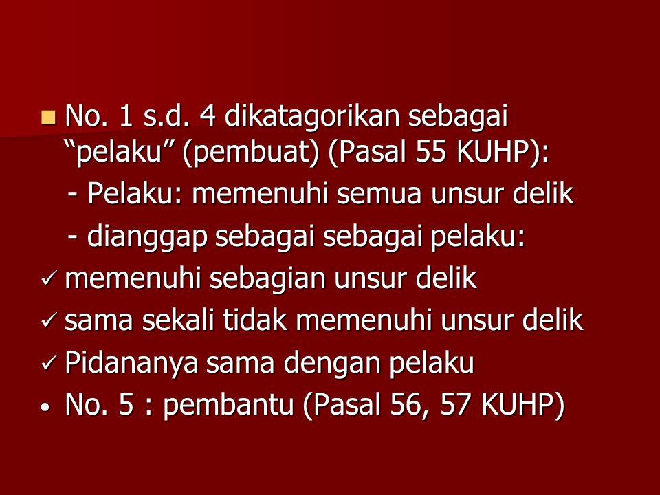 No. 1 s.d. 4 dikatagorikan sebagai pelaku (pembuat) (Pasal 55 KUHP):
