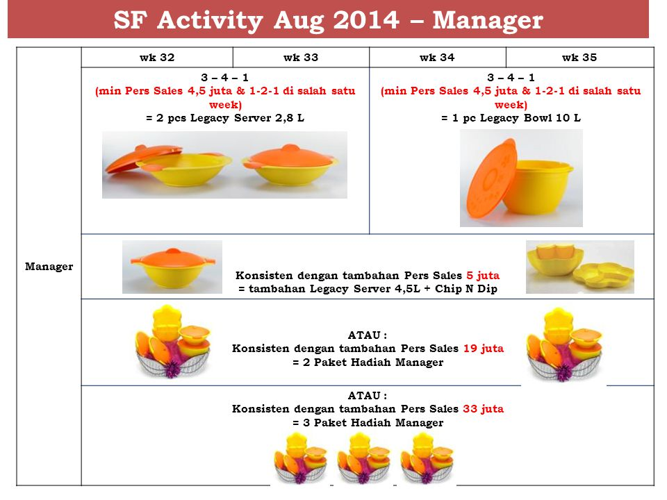 SF Activity Aug 2014 – Manager