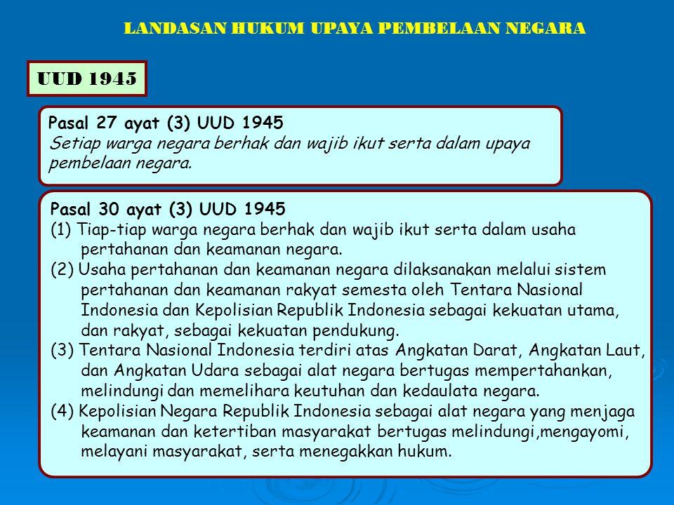 UUD 1945 LANDASAN HUKUM UPAYA PEMBELAAN NEGARA