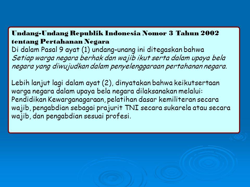 Undang-Undang Republik Indonesia Nomor 3 Tahun 2002