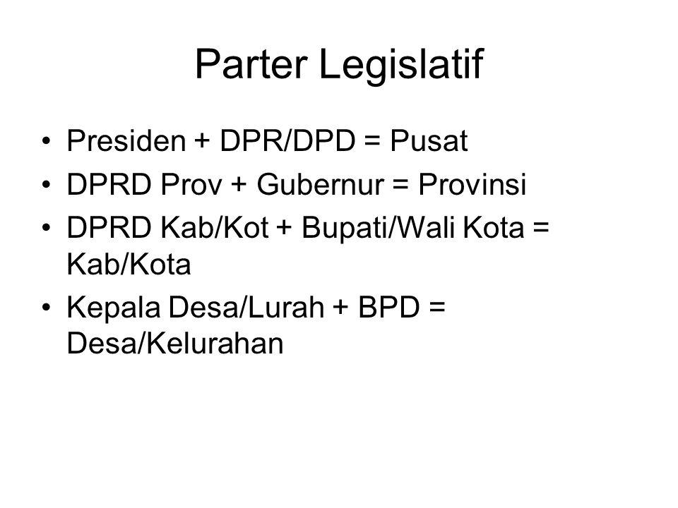Parter Legislatif Presiden + DPR/DPD = Pusat