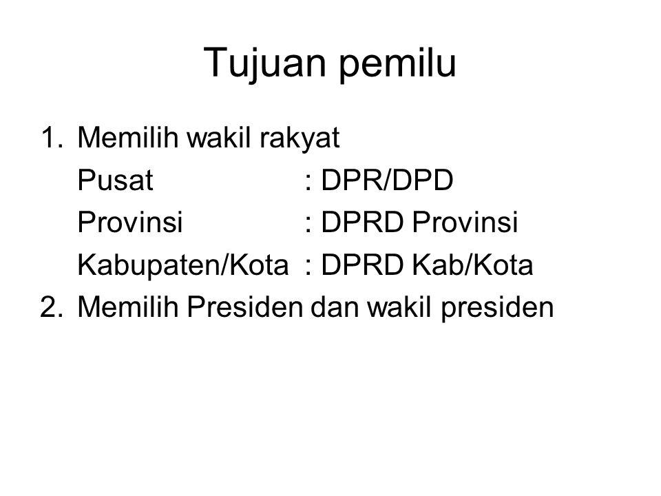 Tujuan pemilu Memilih wakil rakyat Pusat : DPR/DPD