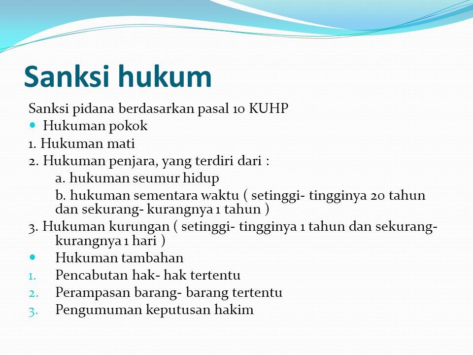 Sanksi hukum Sanksi pidana berdasarkan pasal 10 KUHP Hukuman pokok