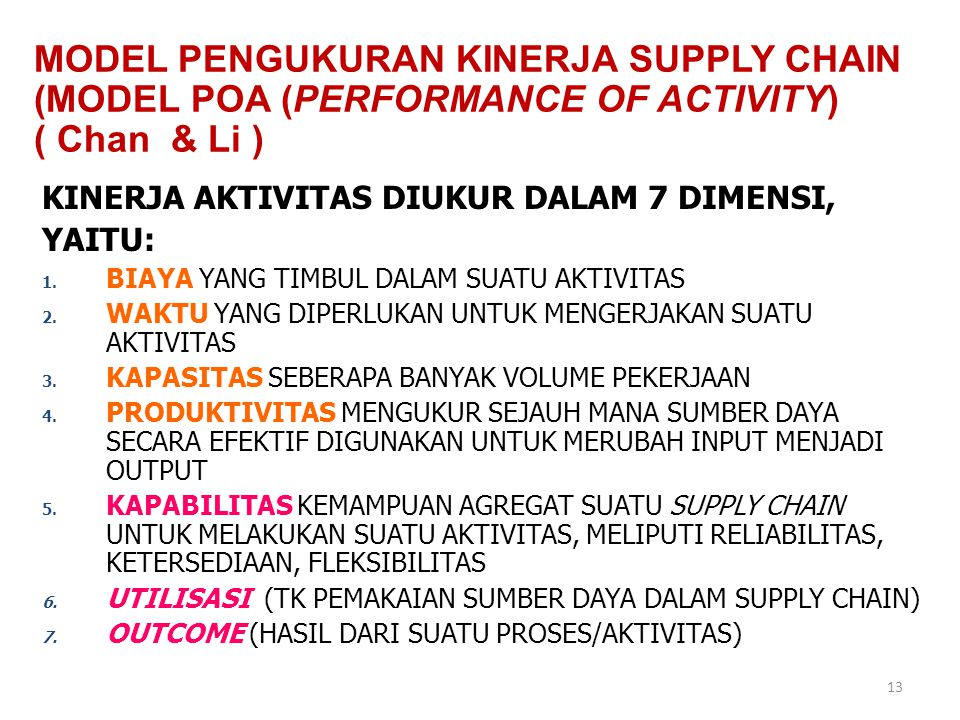 MODEL PENGUKURAN KINERJA SUPPLY CHAIN (MODEL POA (PERFORMANCE OF ACTIVITY) ( Chan & Li )